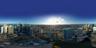Aerial spherical 360 panorama Brickell Miami River cityscape Stock Photo