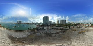 Aerial spherical panorama of a construction site Miami Beach Ven Royalty Free Stock Image