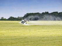 Aerial spraying over a field of wheat Royalty Free Stock Images