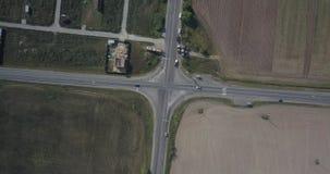 Aerial spring landscape view over crossroad 4k 4096 x 2160 pixels