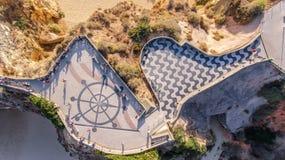 aerial Standpunkt von drei Schlössern in Portimao-Praia de Rocha Lizenzfreies Stockbild