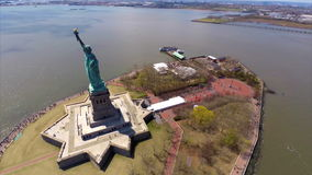 Aerial Statue of Liberty. Aerial video flyover of the Statue of Liberty in New York stock video