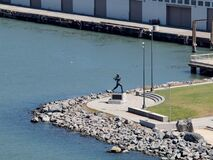 Aerial of Statue of San Francisco Giants legend Willie McCovey