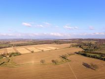 Aerial still image of crop fields in the rural County of Sussex, England. Royalty Free Stock Image