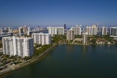 Aerial stock image of Aventura waterfront condominiums Florida royalty free stock photos
