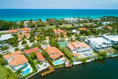 Aerial stock photo of luxury waterfront Miami homes. Aerial luxury homes waterfront in Miami Florida shot with a drone stock images