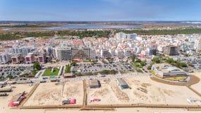 aerial Strände und Monte Gordo-Ansicht Stadt der Häuser touristische vom Himmel Stockbild