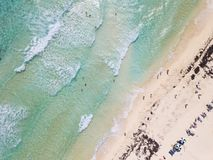 Aerial straight down view of beach in Cozumel, Mexico stock photo