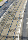 Aerial of streetcar rails in Cologne Royalty Free Stock Photos