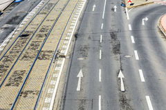 Aerial of streetcar rails and road markings in Cologne. Germany Royalty Free Stock Photos