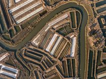 aerial Strukturierte Felder von sumpfigen Salzseen Salines Portugal Vila Real Santo Antonio Lizenzfreies Stockbild