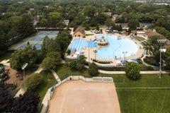 Aerial of Suburban Community Swimming Pool royalty free stock photos