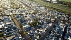 Aerial view over suburban houses