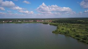 Aerial summer lake view stock video footage