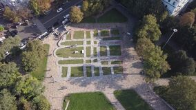 Aerial summer landscape view to remnants and foundation of the Church of the Tithes