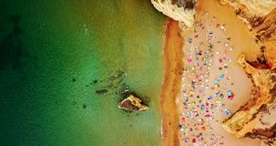 Aerial Summer Top View From Flying Drone Of People Having Fun On Beach In Portugal Stock Photos