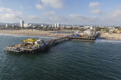 Aerial of Summer Tourists on Santa Monica Pier Royalty Free Stock Photos