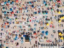 Aerial Summer View Of Beach Full Of People royalty free stock image