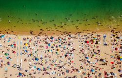 Aerial Summer View Of People Crowd Having Fun On Beach royalty free stock photo