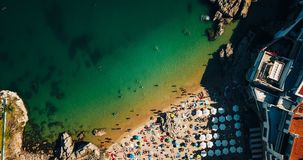 Aerial Summer View Of People Crowd Having Fun On Beach royalty free stock photos