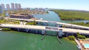 Aerial Sunny Isles Bridge stock video