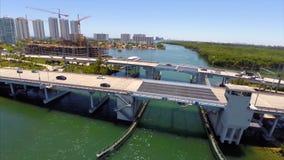 Aerial Sunny Isles Bridge stock video footage