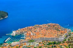 Aerial sunny view on Dubrovnik town, Europe. Sunny aerial view at famous travel destination in Europe, Dubrovnik town, UNESCO World`s Heritage Site Royalty Free Stock Images