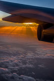 Aerial sunrise as viewed from plane Royalty Free Stock Photo