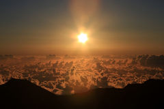 Aerial of sunrise in Haleakala NP in Maui. Royalty Free Stock Image