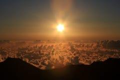 Aerial of sunrise in Haleakala NP in Maui. Royalty Free Stock Image