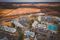 Drone of Sunrise Sky in Plainsboro Highway New Jersey stock photo