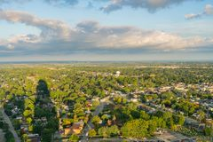 Aerial sunrise rural landscape of Niagara Falls city. At Canada stock photography