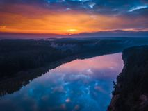 Aerial sunrise or sunset with fog and river Royalty Free Stock Image
