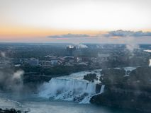 Aerial sunrise view of the beautiful Niagara River and Niagara Falls city. From Canada stock photography