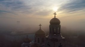 Aerial sunrise view over The Cathedral of the Assumption in Varna, Bulgaria stock video