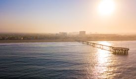 Aerial sunrise view of the Venice beach. Pier near Santa Monica Stock Images