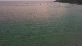 Aerial: Sunset From Nai Harn Beach. Phuket, Thailand. stock footage