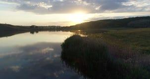 Aerial sunset nature lake stock video