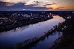 Aerial of Sunset in New Brunswick New Jersey stock images