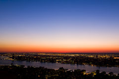 Aerial sunset in New york city skyline Stock Image