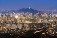 Night view of Seoul Downtown cityscape Stock Photography