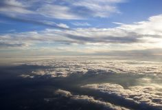 Aerial Sunset Over Clouds View Royalty Free Stock Photo