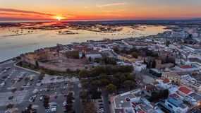 Aerial. Sunset over the old town of Faro, view from the air. Aerial. Sunset over the old town of Faro, view from the air, Portugal royalty free stock photo