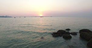 Aerial sunset scene Pattaya beach stock video