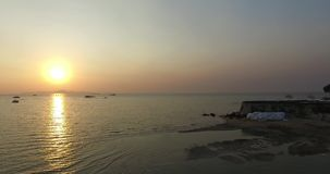 Aerial sunset scene Pattaya beach. Thailand stock video footage