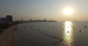 Aerial sunset scene Pattaya beach. Thailand stock video