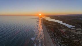 Aerial sunset seascape of famous Montegordo beach, Algarve. Aerial sunset seascape of famous Montegordo beach, Algarve destination. Portugal Royalty Free Stock Photos