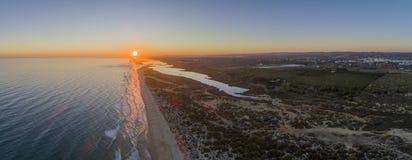 Aerial sunset seascape of famous Montegordo beach, Algarve. Aerial sunset seascape of famous Montegordo beach, Algarve destination. Portugal Stock Photos