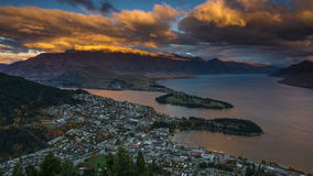 Aerial Sunset Time Lapse of Queenstown, New Zealand from Skyline Gondola stock video