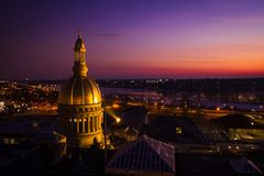 Aerial of Sunset in Trenton New Jersey State House royalty free stock images